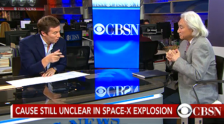 'Click to Watch Video' from the web at 'http://mkaku.org/home/wp-content/uploads/2015/07/kaku-on-cbsn-spacex-explosion-july-2015.jpg'
